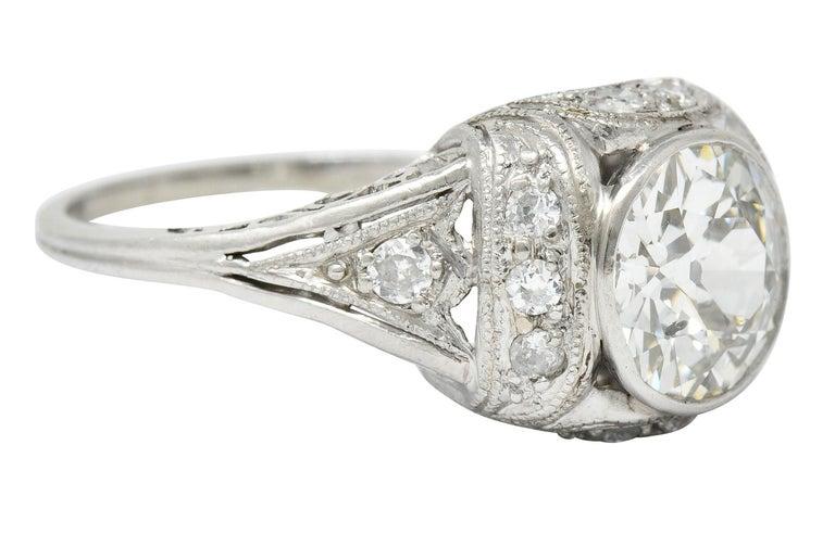 Old European Cut Edwardian 2.05 Carat Diamond Platinum Filigree Engagement Ring GIA For Sale