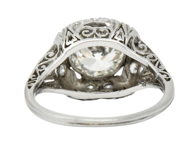 Women's or Men's Edwardian 2.05 Carat Diamond Platinum Filigree Engagement Ring GIA For Sale