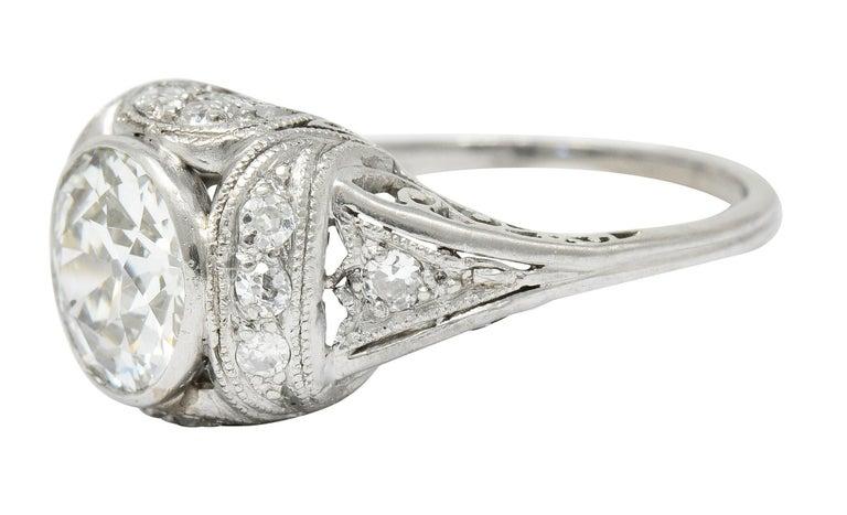 Edwardian 2.05 Carat Diamond Platinum Filigree Engagement Ring GIA For Sale 2