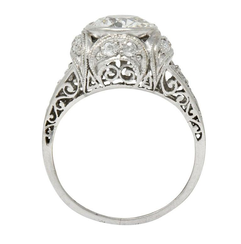 Edwardian 2.05 Carat Diamond Platinum Filigree Engagement Ring GIA For Sale 3