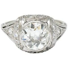 Edwardian 2.05 Carat Diamond Platinum Filigree Engagement Ring GIA