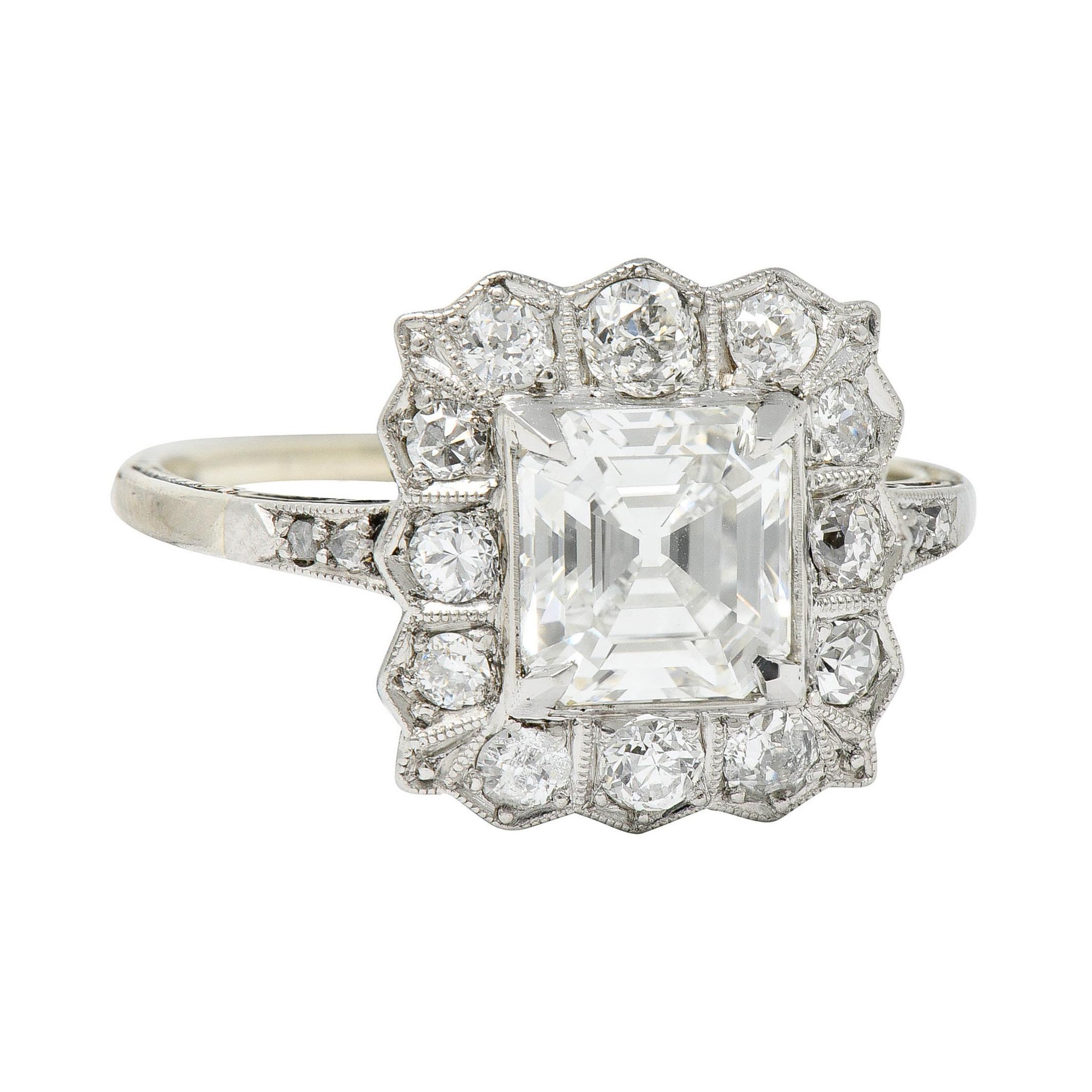 Edwardian 2.07 Carats Asscher Diamond Platinum-Topped 14 Karat Gold Cluster Ring