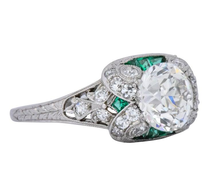 Old European Cut Edwardian 1.59 Carat Old European Diamond Emerald Platinum Engagement Ring GIA For Sale