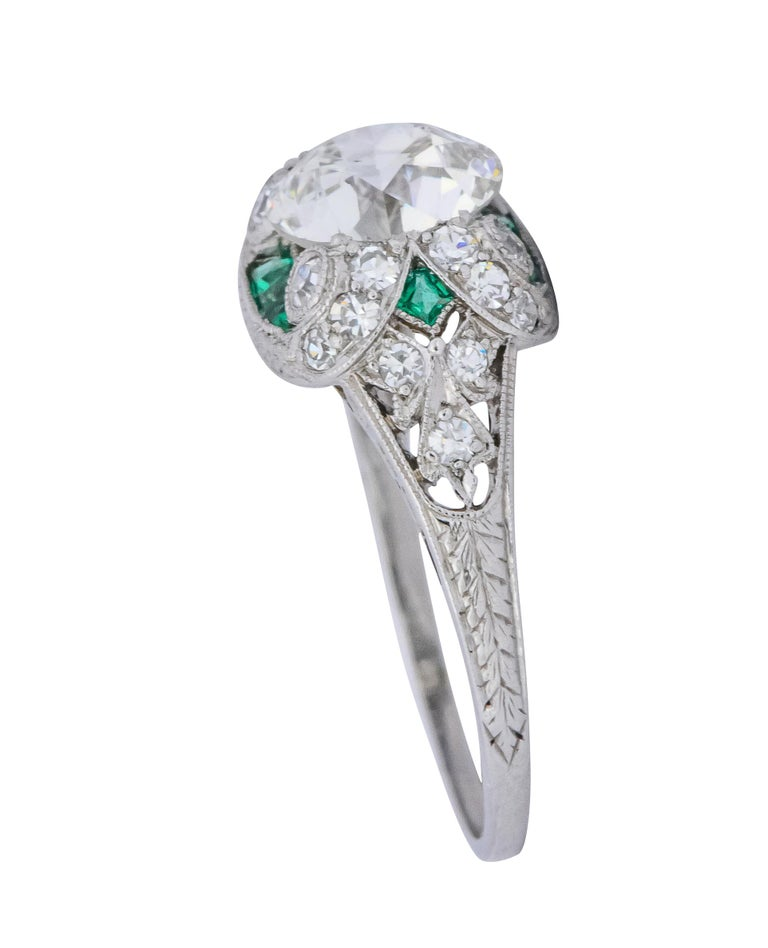 Edwardian 1.59 Carat Old European Diamond Emerald Platinum Engagement Ring GIA In Excellent Condition For Sale In Philadelphia, PA