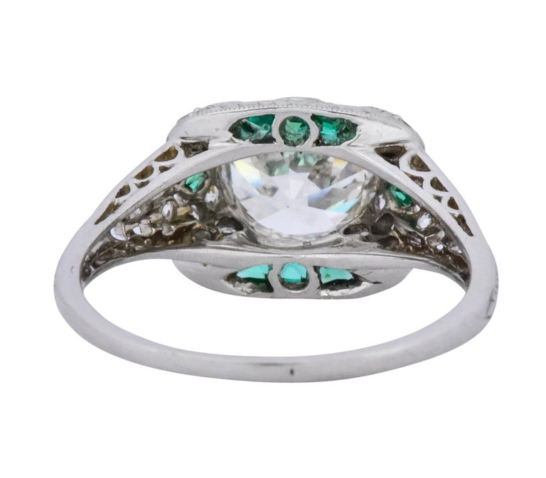 Women's or Men's Edwardian 1.59 Carat Old European Diamond Emerald Platinum Engagement Ring GIA For Sale