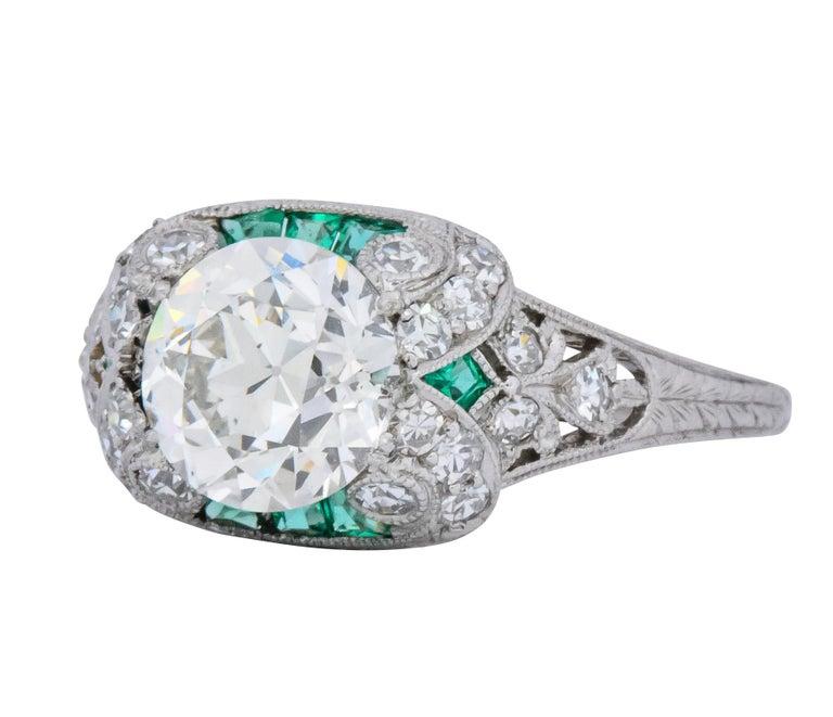 Edwardian 1.59 Carat Old European Diamond Emerald Platinum Engagement Ring GIA For Sale 2