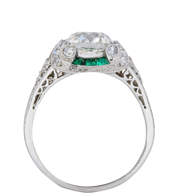 Edwardian 1.59 Carat Old European Diamond Emerald Platinum Engagement Ring GIA For Sale 3