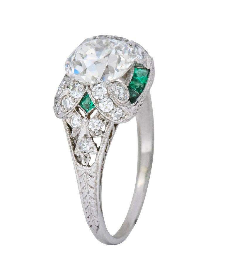 Edwardian 1.59 Carat Old European Diamond Emerald Platinum Engagement Ring GIA For Sale 4