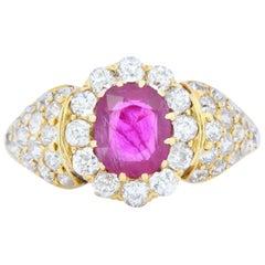 Edwardian 2.11 Carat Ruby Diamond 18 Karat Gold Pave Cluster Ring