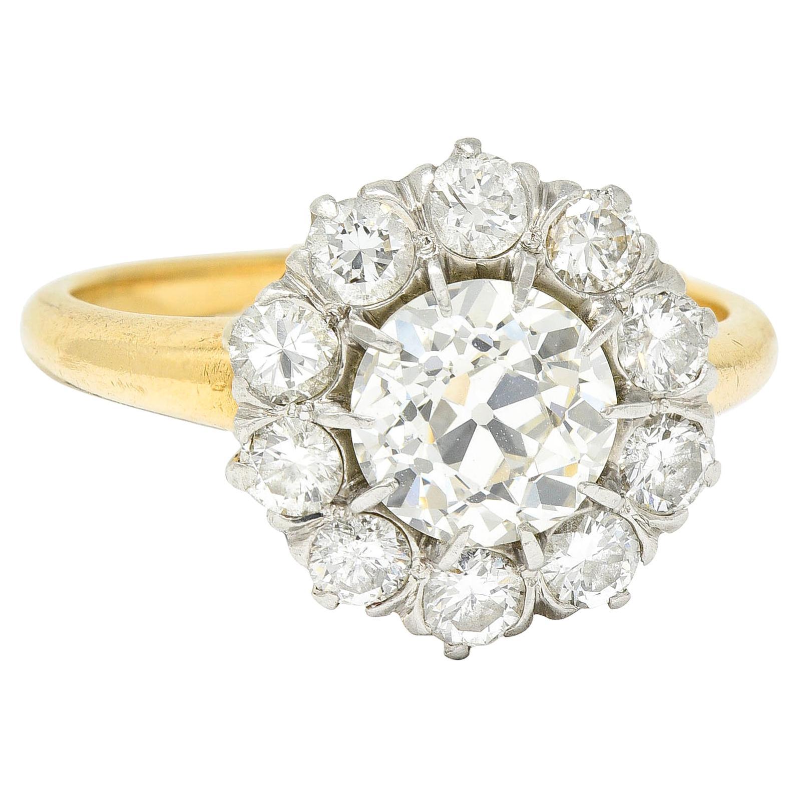 Edwardian 2.14 Carats Diamond Platinum 14 Karat Gold Cluster Engagement Ring