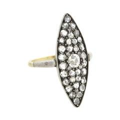 Edwardian 21kt/Sterling and Diamond Navette Ring