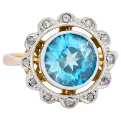 Edwardian 2.20 Carat Zircon Diamond Platinum 14 Karat Gold Ring