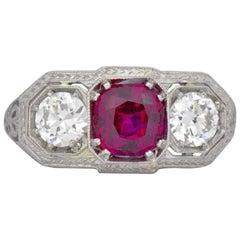 Edwardian 2.20 CTW Unheated Burma Ruby Diamond And Platinum Ring AGL
