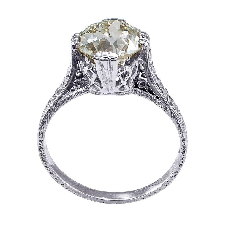 Edwardian Engagement Rings For Sale: Edwardian 2.21 Carat Old European Cut Diamond Platinum