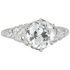 Edwardian 2.23 Carat Transitional Cut Diamond Platinum Engagement Ring GIA