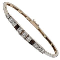 Edwardian 2.30 Carat Diamond Onyx Line Bracelet 18 Karat/Platinum