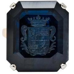 Edwardian 23.88 Carat No Heat Intaglio Sapphire Two-Tone 14 Karat Gold Ring GIA