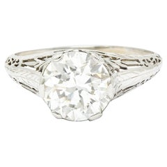 Edwardian 2.41 Carats Diamond Platinum Pinecone Engagement Ring