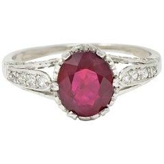 Edwardian 2.44 Carat Burma Ruby Diamond Platinum Heart Ring AGL