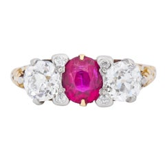Edwardian 2.48 Carat Burma Ruby Diamond 18 Karat Gold Platinum Three-Stone Ring