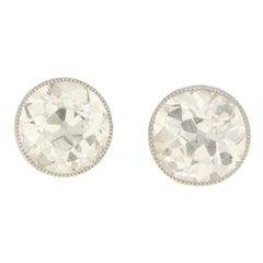 Edwardian 2.50 Carat Old Mine-Cut Diamond Stud Earrings in Platinum