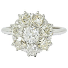 Edwardian 2.50 Carat Old Mine Cut Diamond Platinum Cluster Ring