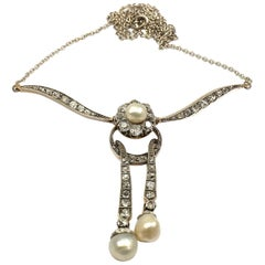Edwardian 2.6 Carat Diamond and Natural Pearl Lavalier Necklace, circa 1910