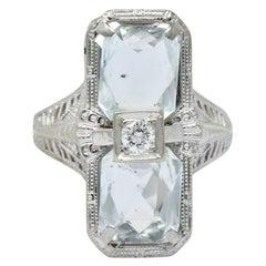 Edwardian 2.60 Carat Aquamarine Diamond 18 Karat White Gold Ring