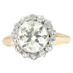Edwardian 2.61 Carat Diamond Platinum-Topped 14 Karat Gold Engagement Ring GIA