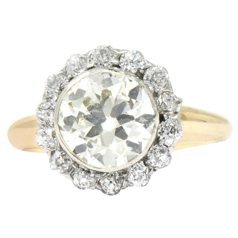 8111a860b Edwardian 2.61 Carat Diamond Platinum-Topped 14 Karat Gold Engagement Ring  GIA For Sale