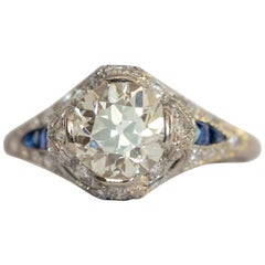 Edwardian 2.69ct VS Old European Cut Diamond in Platinum Ring with Blue Sapphire