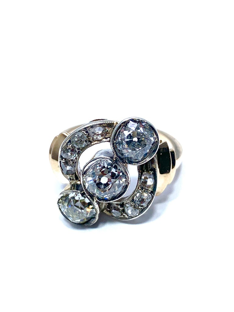 Round Cut Edwardian 2.70 Carat Old Mine Cut Diamond Silver and Yellow Gold Ring For Sale