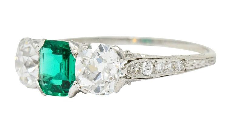 Edwardian 2.71 Carat Emerald Diamond Platinum Three-Stone Ring, circa 1915 1