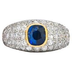 Edwardian 2.75 Carats Sapphire Diamond Platinum 18 Karat Gold Pave Band Ring
