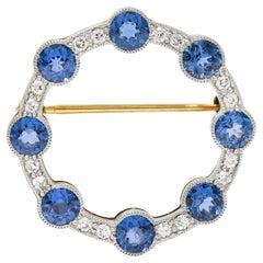 Edwardian 2.75 Carats Sapphire Diamond Platinum-Topped 14 Karat Gold Circle Pin