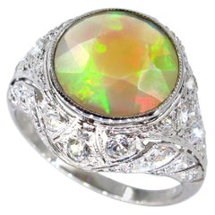 Edwardian 2.85 Carat Australian Opal and Old Euro Diamond Platinum Ring