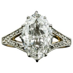 Edwardian 2.86 Carat 'Novelty-Cut' Moval Diamond Ring, GIA F VVS2