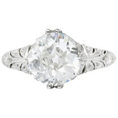 Edwardian 2.89 Carat Diamond Platinum Engagement Ring GIA