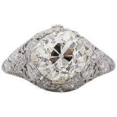 Edwardian 2.89 Carat GIA Diamond Platinum Engagement Ring with Carved Bow Motif
