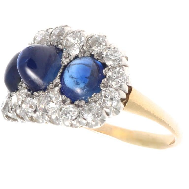 Old European Cut Edwardian 3-Stone Cabochon Sapphire Old European Diamond Platinum Gold Ring For Sale