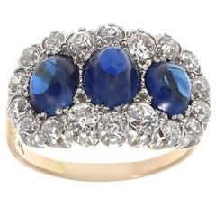 Edwardian 3-Stone Cabochon Sapphire Old European Diamond Platinum Gold Ring