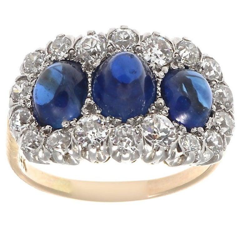Edwardian 3-Stone Cabochon Sapphire Old European Diamond Platinum Gold Ring For Sale