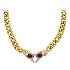 Edwardian 3 Total Carat Sapphire and Diamond Double Snake Head Chain Necklace