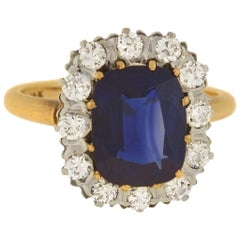 Edwardian 3.00 Carat Sapphire and Diamond Cluster Ring