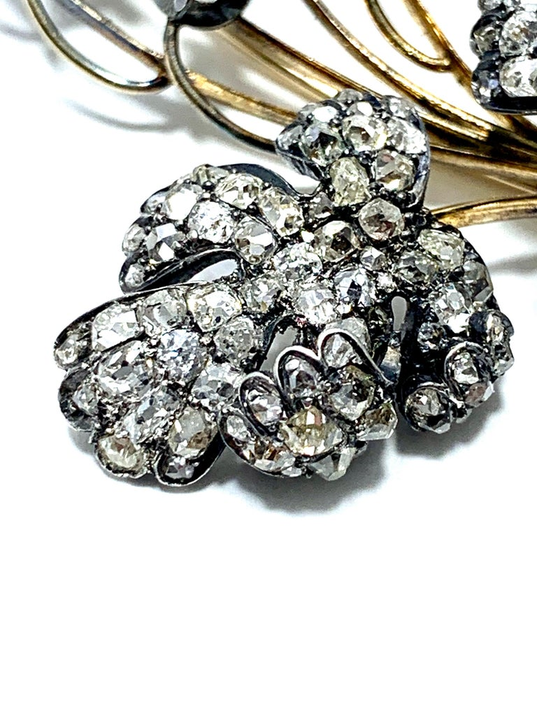 Edwardian 3.02 Carat Pear Shape Sapphire and Diamond Silver over Gold Bouquet For Sale 6