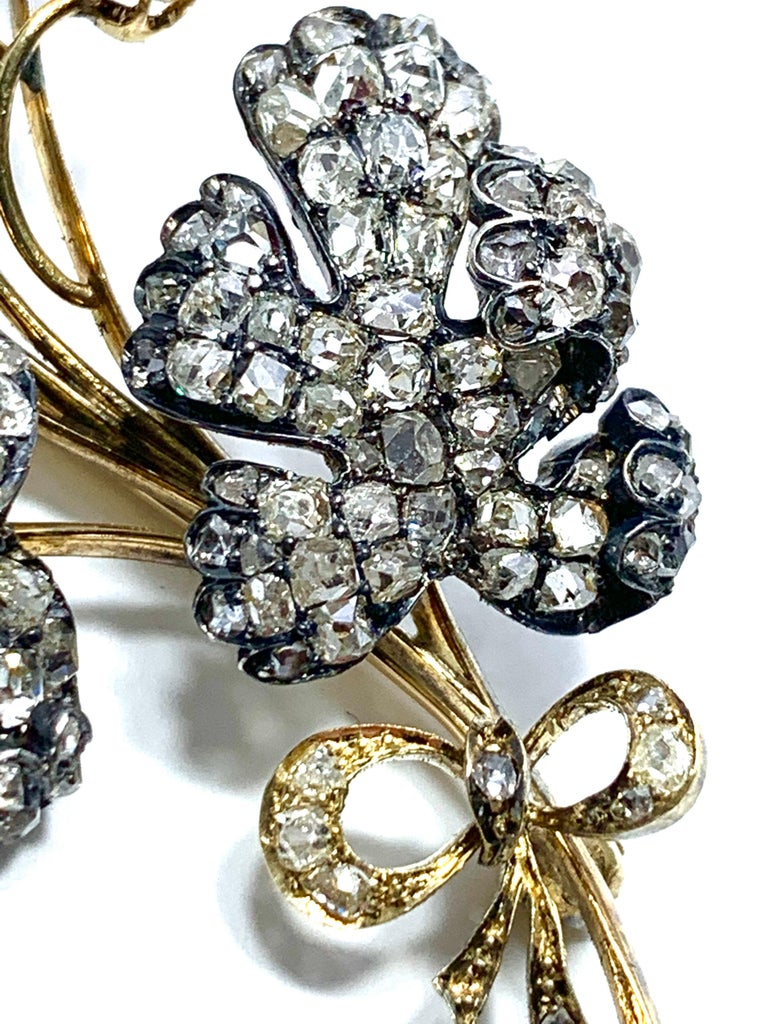 Edwardian 3.02 Carat Pear Shape Sapphire and Diamond Silver over Gold Bouquet For Sale 7