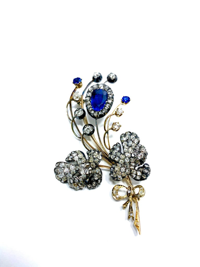 Pear Cut Edwardian 3.02 Carat Pear Shape Sapphire and Diamond Silver over Gold Bouquet For Sale