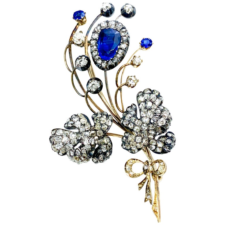 Edwardian 3.02 Carat Pear Shape Sapphire and Diamond Silver over Gold Bouquet For Sale