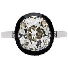 Edwardian 3.09 Carat Diamond Platinum and Enamel Engagement Ring