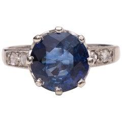 Edwardian 3.15 Carat Ceylon Blue Sapphire in Platinum Rose Cut Diamond Ring